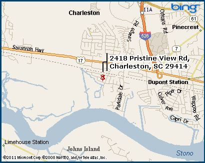 A map of 2418 Pristine View Rd, Charleston, SC 29414. Click to see the map on MSN Maps & Directions
